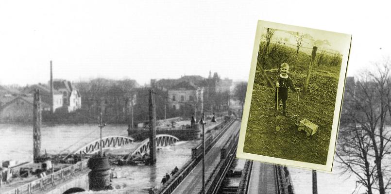 Der kleine Jürgen und sein erstes Wohnmobil. Im Hintergrund die zerstörte Weserbrücke